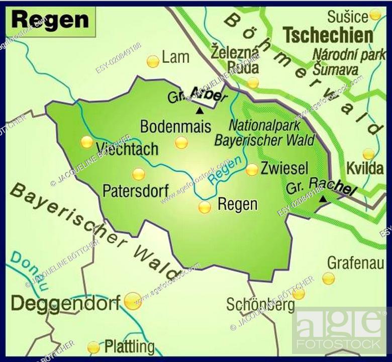 Stock Vector: Karte von Regen als Übersichtskarte in Grün.