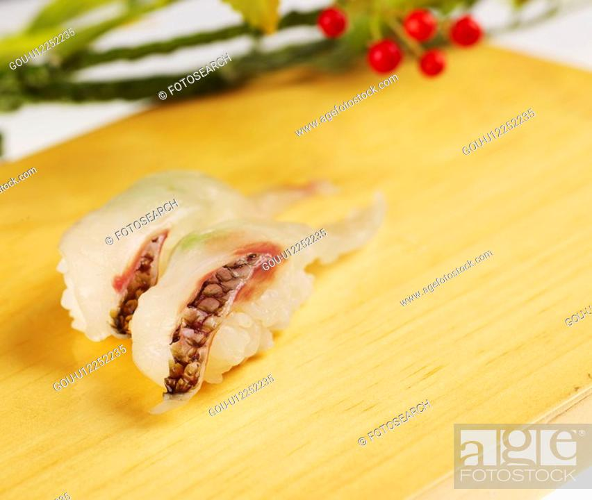 Stock Photo: food, plate, sea bream, decoration, food styling, cuisine, sushi plate.