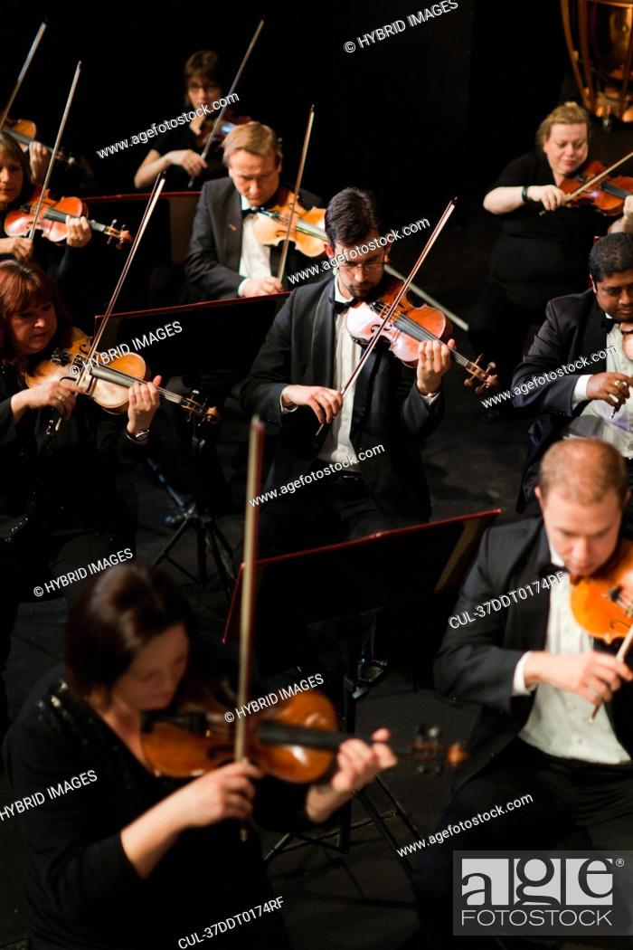 Stock Photo: String section in orchestra.
