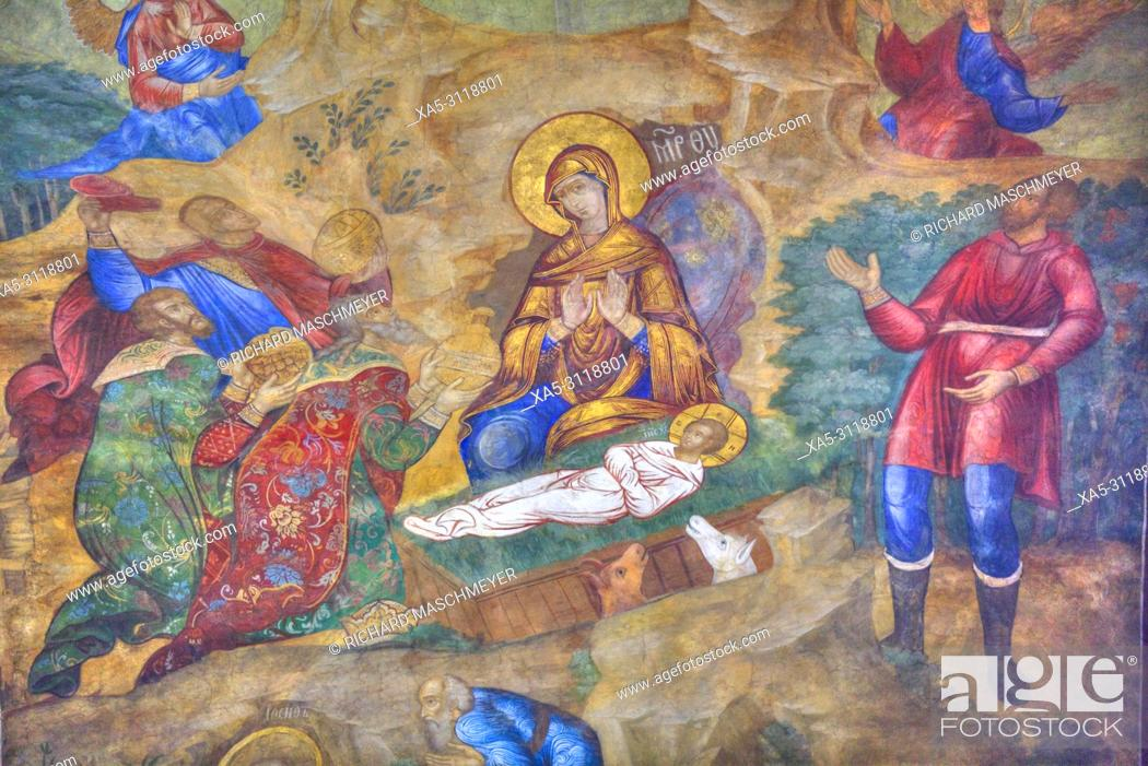 Stock Photo: Frescoes, Holy Dormition Cathedral, The Holy Trinity Saint Serguis Lavra, UNESCO World Heritage Site, Sergiev Posad, Golden Ring, Russia.