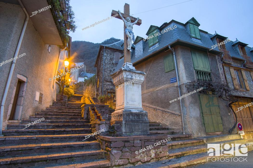 Stock Photo: Cierp-Gaud is located in the department of Haute-Garonne of the french region Midi-Pyrénées, in the township of Saint-Beat France on January 25, 2020.