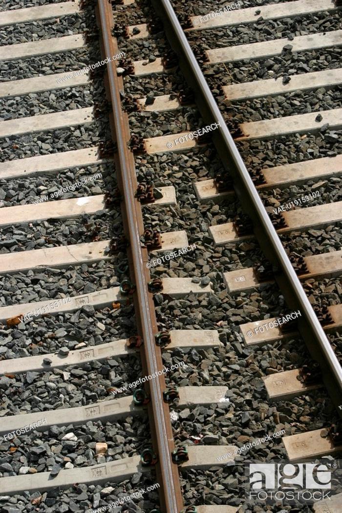 Stock Photo: railroad, track, way, path, pathway, stones.