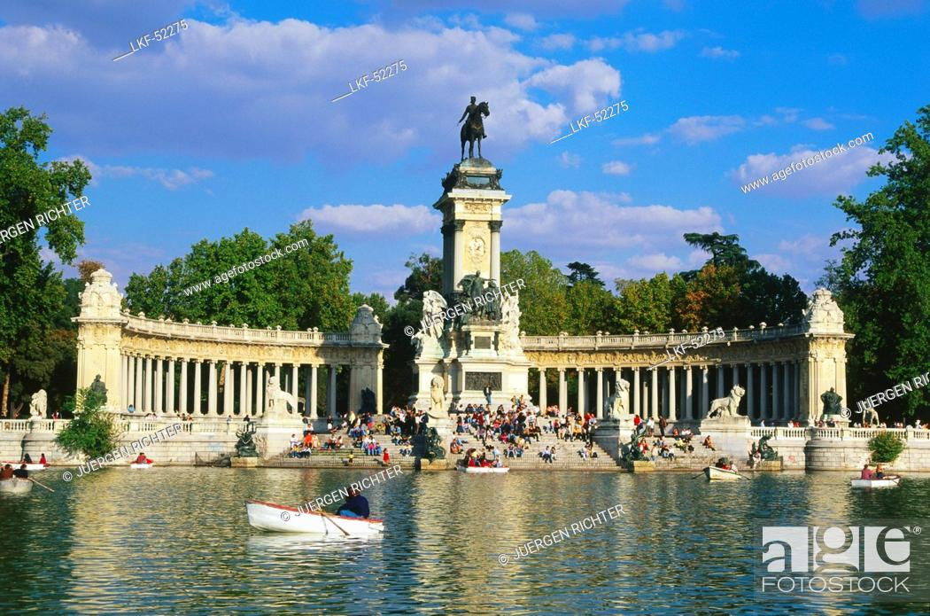 Stock Photo: Monument for Alfonso XII., Retiro Park, Madrid, Spain.