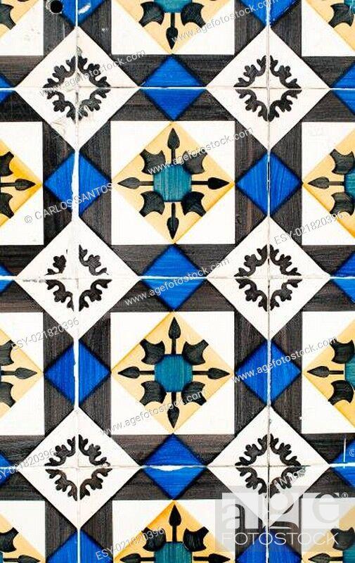 Stock Photo: Traditional Portuguese glazed tiles.