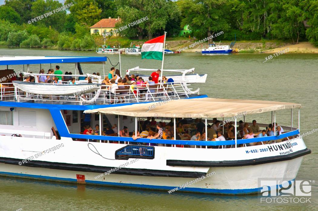 Ferry heading to Budapest at Mahart ferry pier central