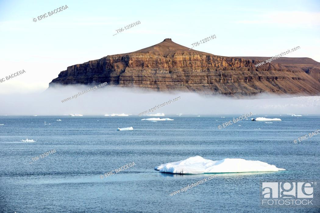 Stock Photo: Iceberg and glacier, Croker Bay, Devon Island, Nunavut, Canada.