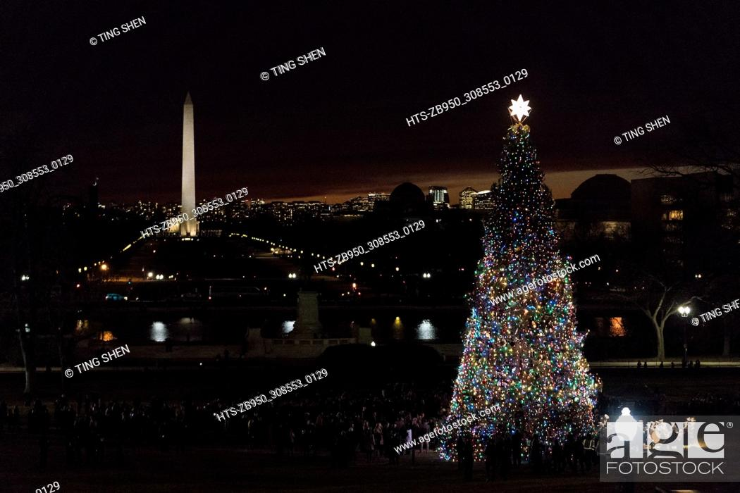 Stock Photo: (171207) -- WASHINGTON, Dec. 7, 2017 () -- The Capitol Christmas Tree is lit on the west front lawn of the U.S. Capitol in Washington Dec. 6, 2017.