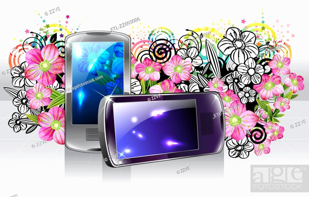 Stock Photo: Mobile phone with flora design.