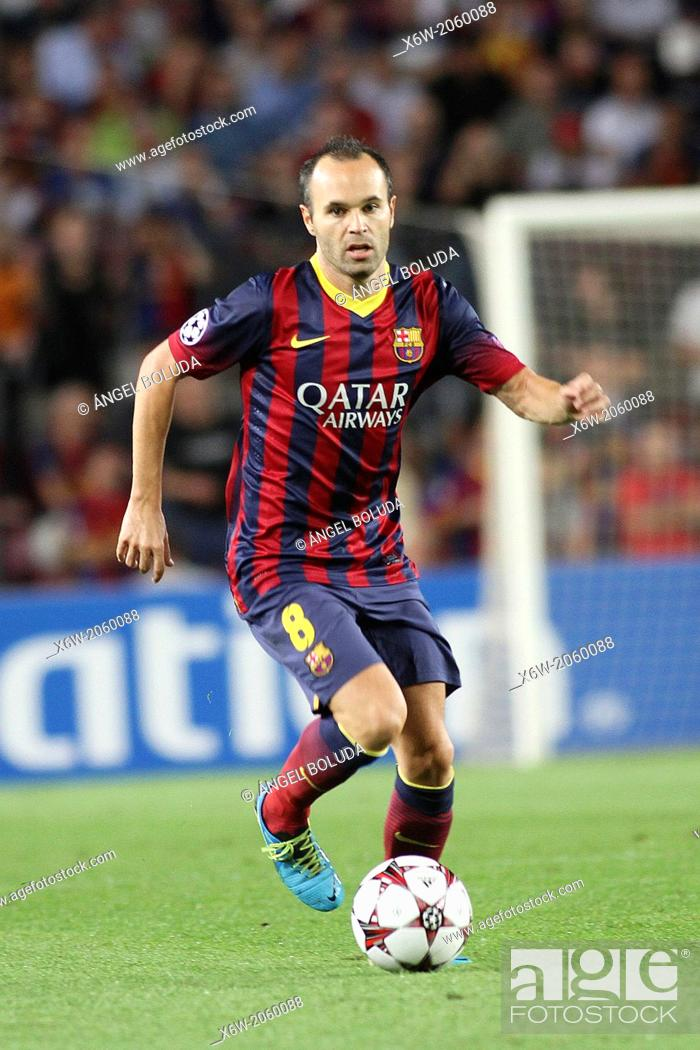 Stock Photo: FC Barcelona. Andres Iniesta in action.
