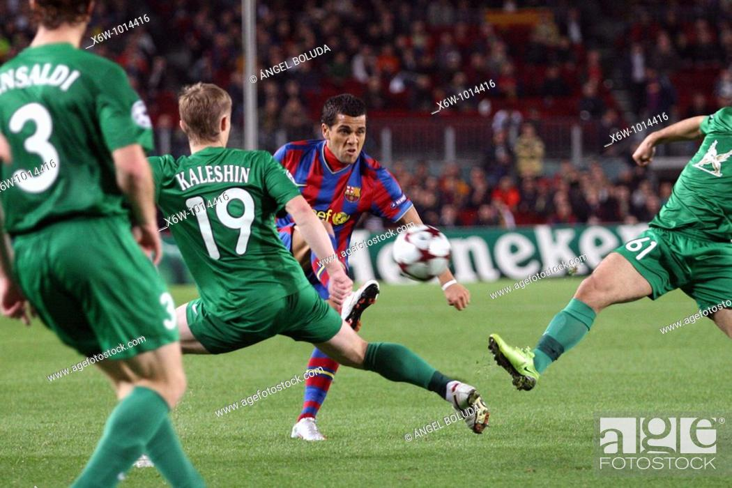 Stock Photo: Barcelona, Camp Nou Stadium, 20/10/2009, UEFA Champions League, FC Barcelona vs. FC Rubin Kazan, Dani Alves kicking the ball.