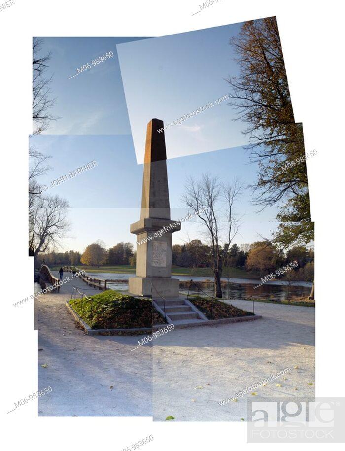 Stock Photo: Collage of the Concord Bridge Memorial, Concord, Massachusetts, USA.