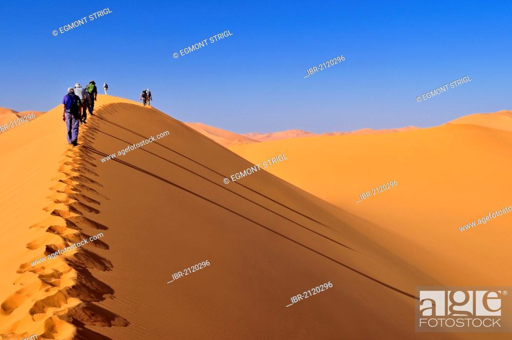Stock Photo: Group of tourists hiking through the sand dunes of Erg Mehejibad, Ahnet, Algeria, Sahara, North Africa.