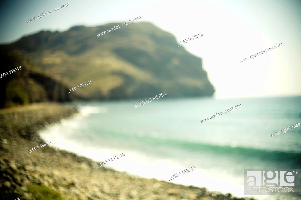 Stock Photo: Beach Las Negras, Cabo de Gata, Almeria, Spain.