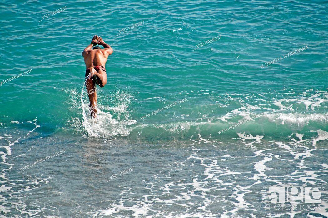 Stock Photo: Beach in Amalfi in March, Amalfi Coast, Italy, Europe.