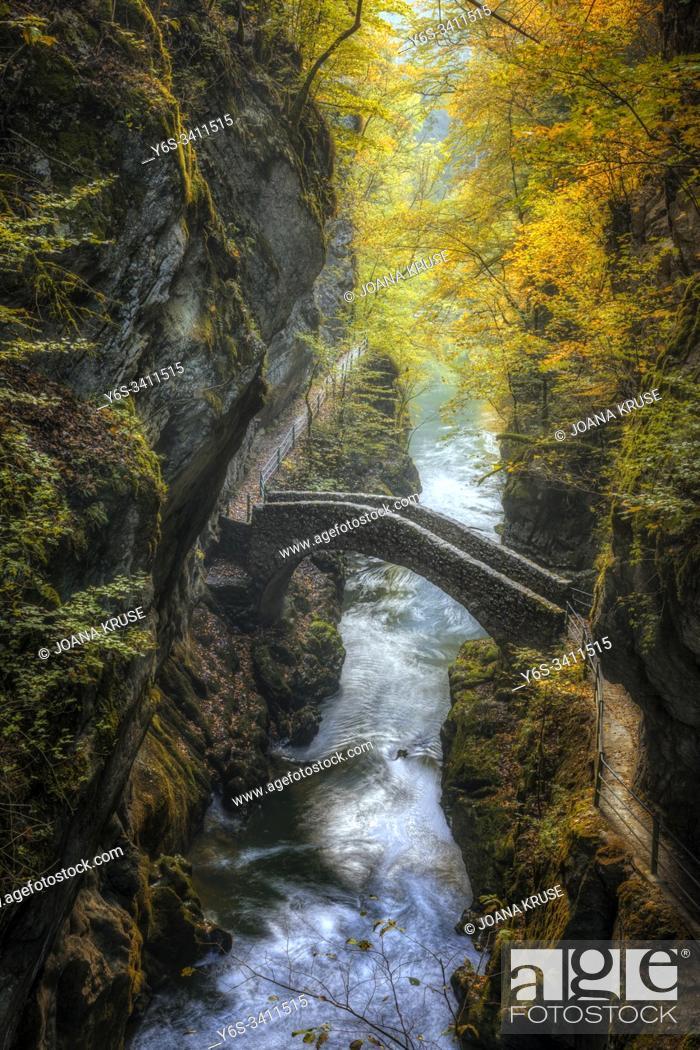 Stock Photo: Gorges de l'Areuse, Noirague, Neuchatel, Switzerland, Europe.