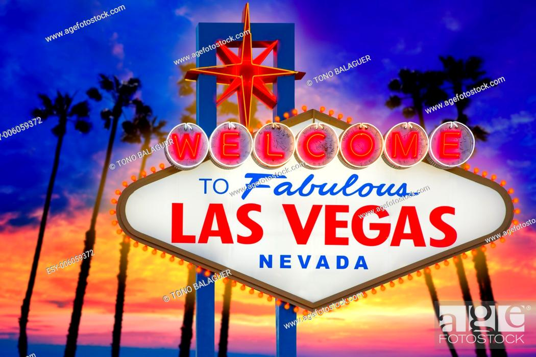 Stock Photo: Welcome to Fabulous Las Vegas sign sunset with palm trees Nevada photo mount.