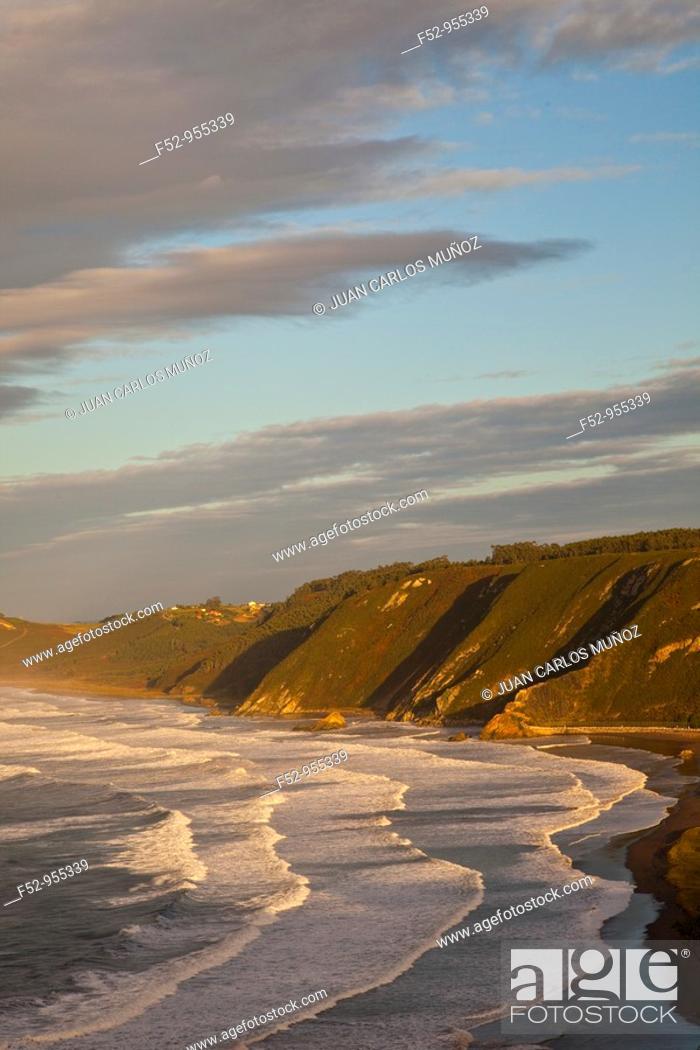 Stock Photo: Playa de los Quebrantos from the Mirador del Espíritu Santo.San Esteban de Pravia. Asturias. Spain.