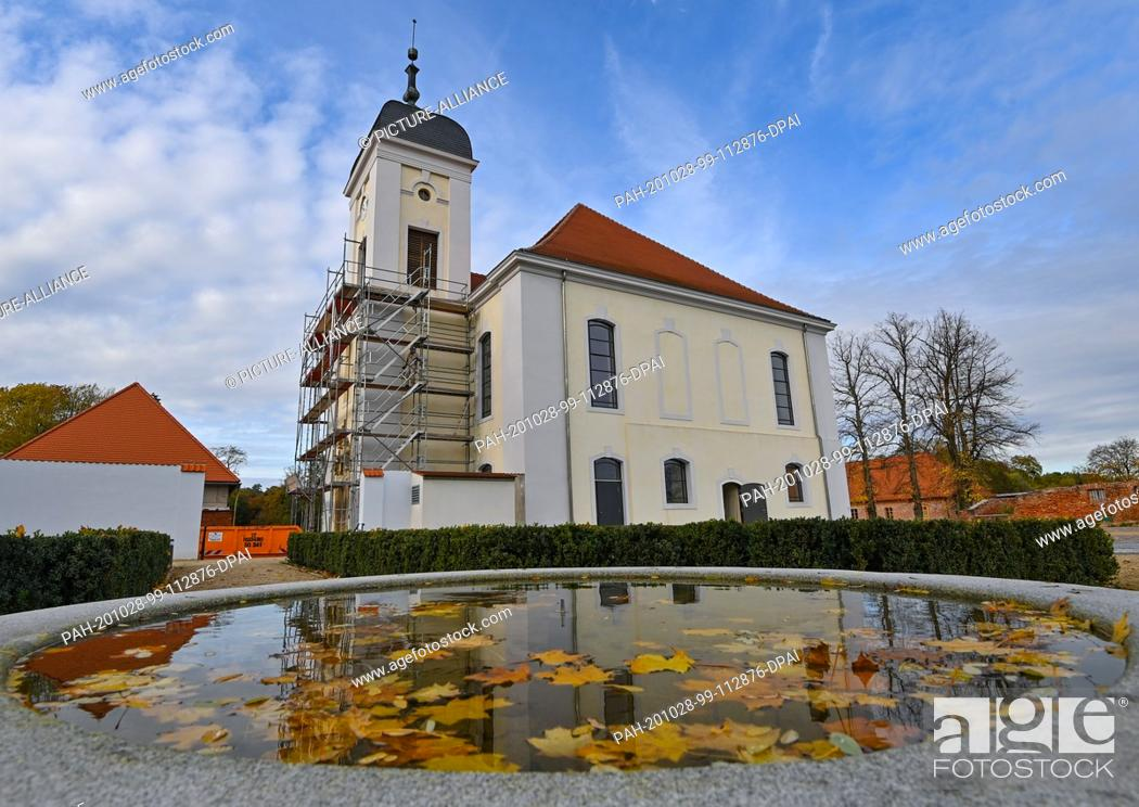 Stock Photo: 28 October 2020, Brandenburg, Altlandsberg: The autumnally coloured leaves of a maple tree float in a fountain and the castle church is reflected in it.