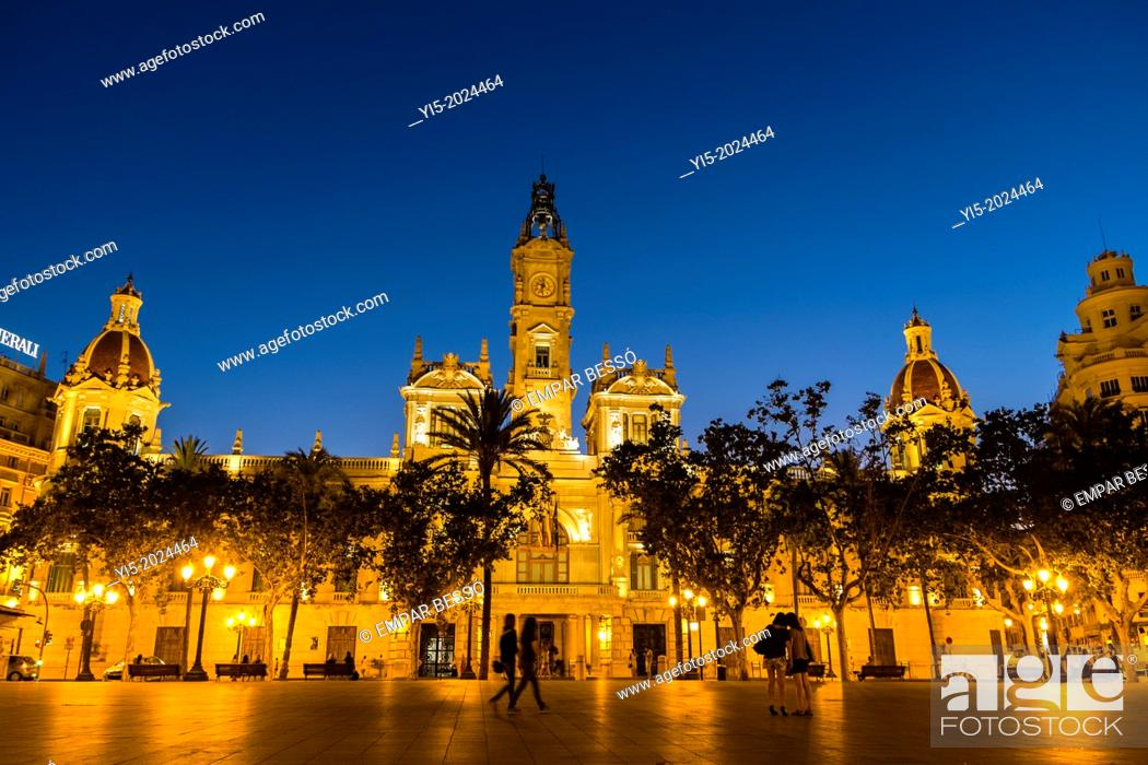 Stock Photo: Town Hall Square, Valencia, Spain.