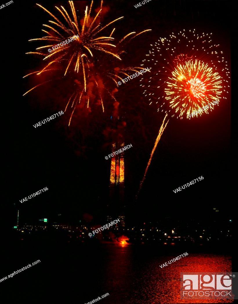 Stock Photo: landscape, fireworks, scenery, festival, event, city, night.