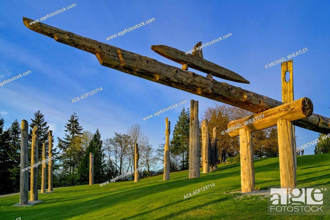 Stock Photo: Japanese Ainu totems, Kamui Mintara, Playground of the Gods, Kushiro Park, Burnaby Mountain, Burnaby, British Columbia Canada.
