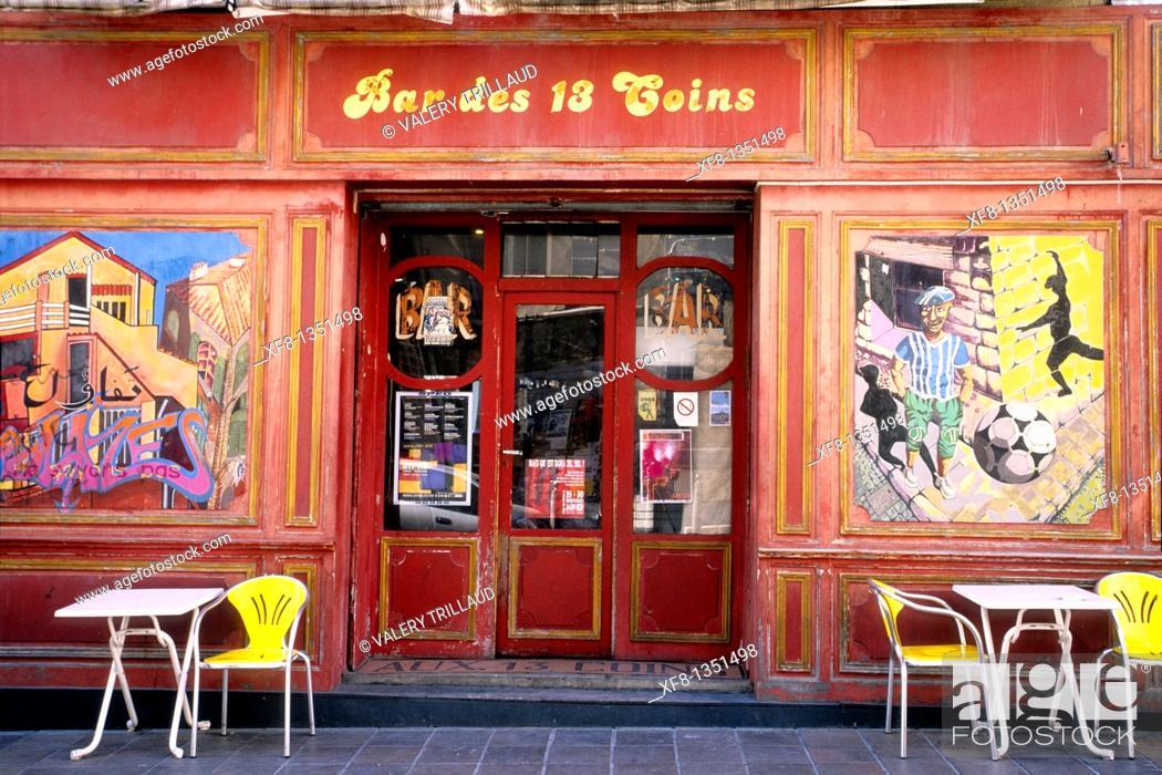 Stock Photo: Picturesque café into the Panier district of Marseille Bouches du Rhone 13 PACA France Europe.