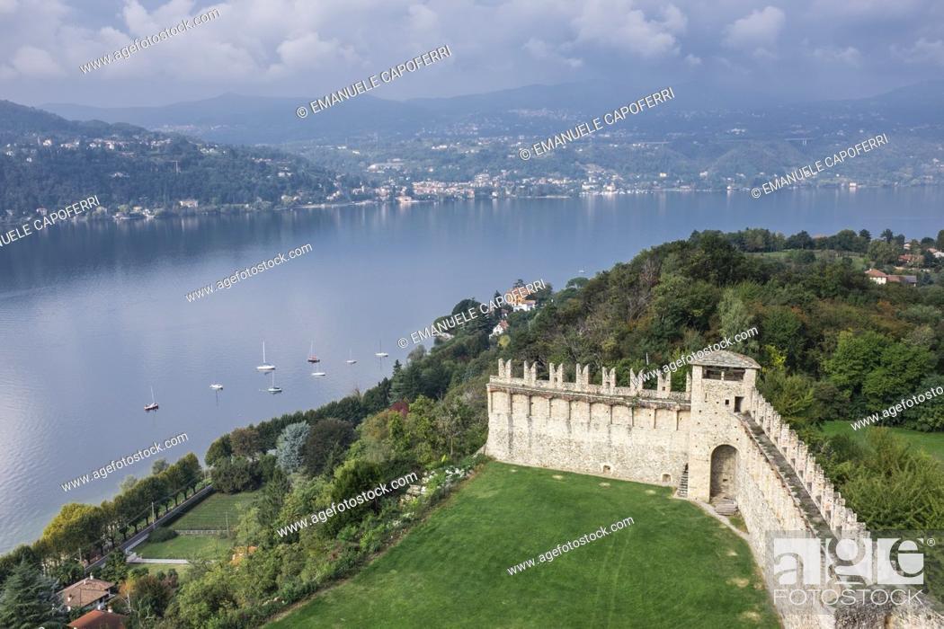 Stock Photo: Walls of the medieval castle on Lake Maggiore, Rocca Borromeo, Angera, Italy.
