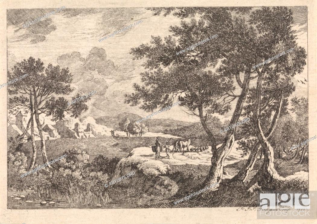 Stock Photo: Landscape with trees in the foreground, print maker: Pierre Joseph Jacques Tiberghien, 1786.