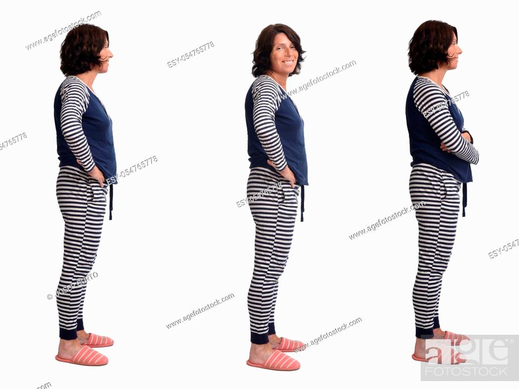 Photo de stock: side view of a same woman in pajamas on white background, .
