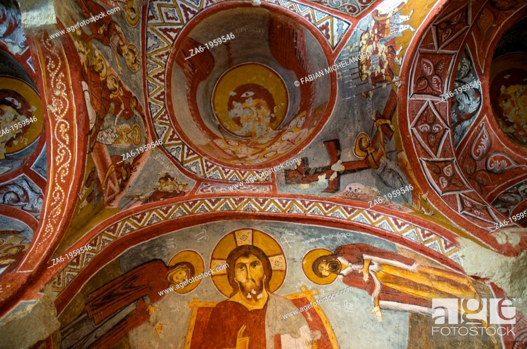 Stock Photo: Frescoe of Jesus in the Carikli Church Church of Sandals at Goreme Open Air Museum. Cappadocia, Central Anatolia, Turkey.
