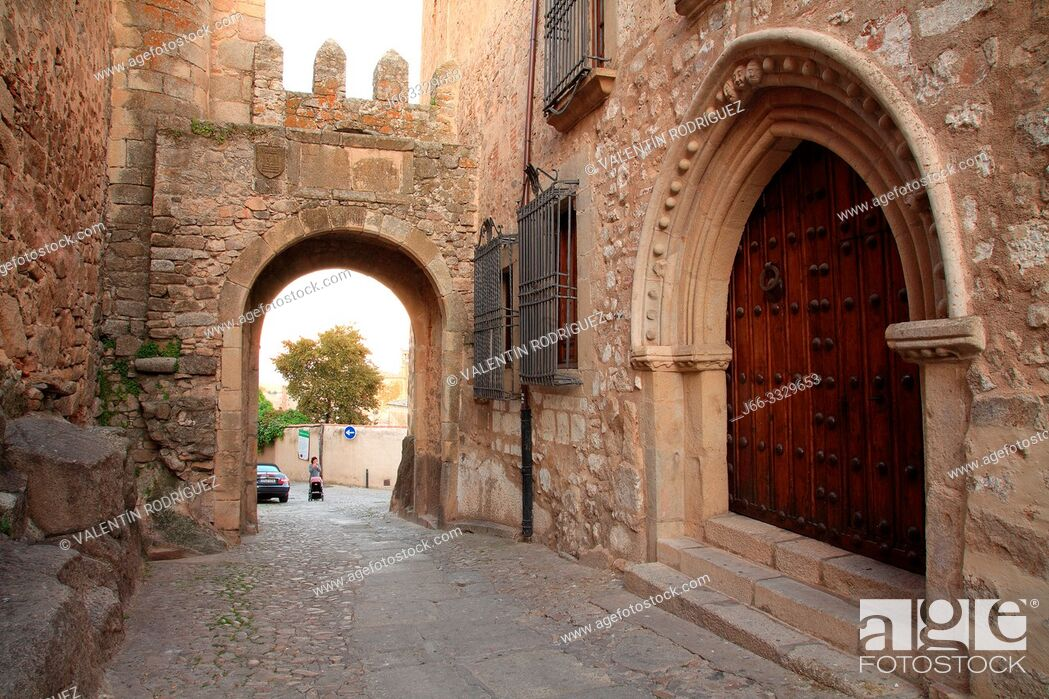 Stock Photo: Door of Santiago in Trujillo. Cáceres.