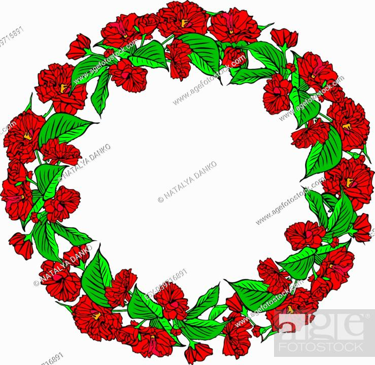 Stock Vector: wreath of red sakura flowers and green leaves, empty space in the middle, isolated on white background.