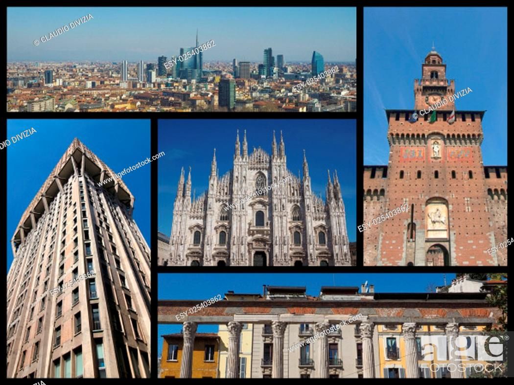 Photo de stock: Landmarks collage of the city of Milan, Italy.