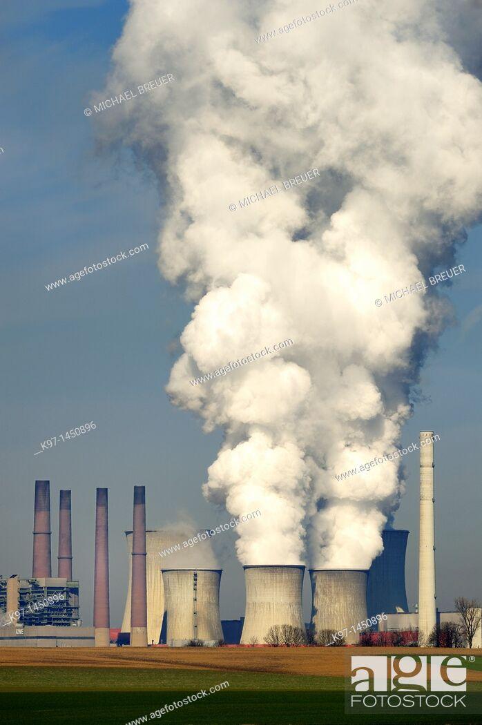 Stock Photo: Brown coal-fired power station, Neurath, North-Rhine Westphalia, Germany, Europe.