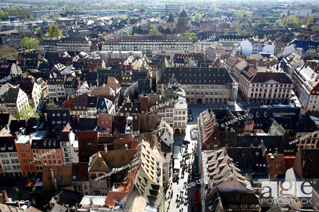 Stock Photo: Sep 2008 - View over Strasbourg from the Cathedral, Alsace, France.