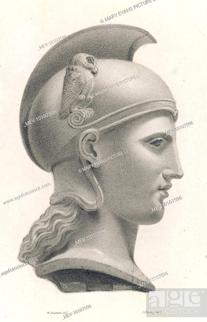 A colossal head of Minerva, an example of very early Greek sculpture