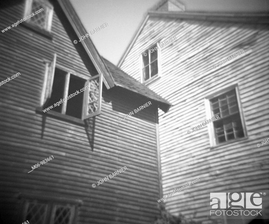 Stock Photo: Open window in a colonial house at Strawberry Banke, Portsmouth New Hampshire USA.