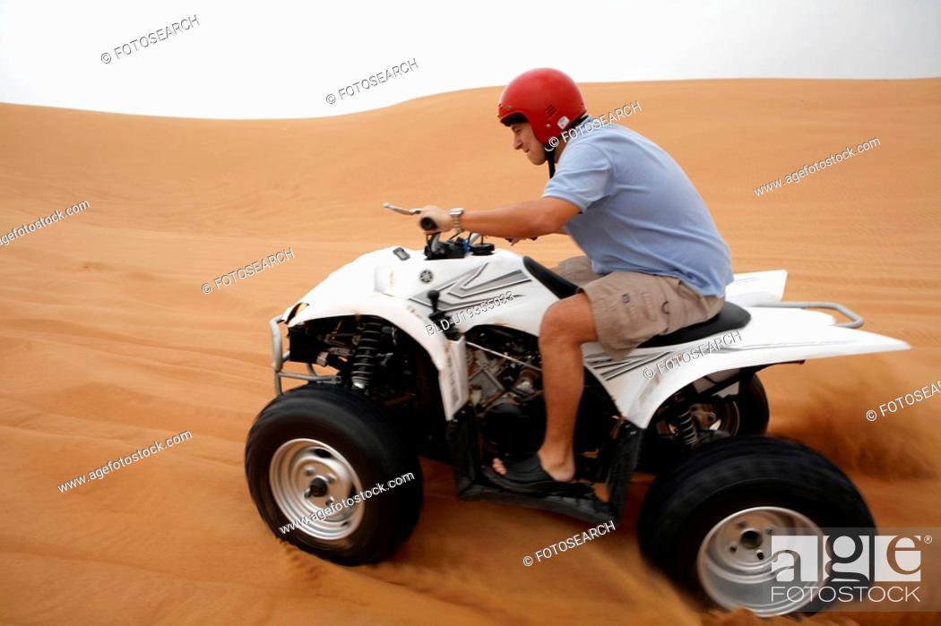 Stock Photo: quad, desert, sand, sport.