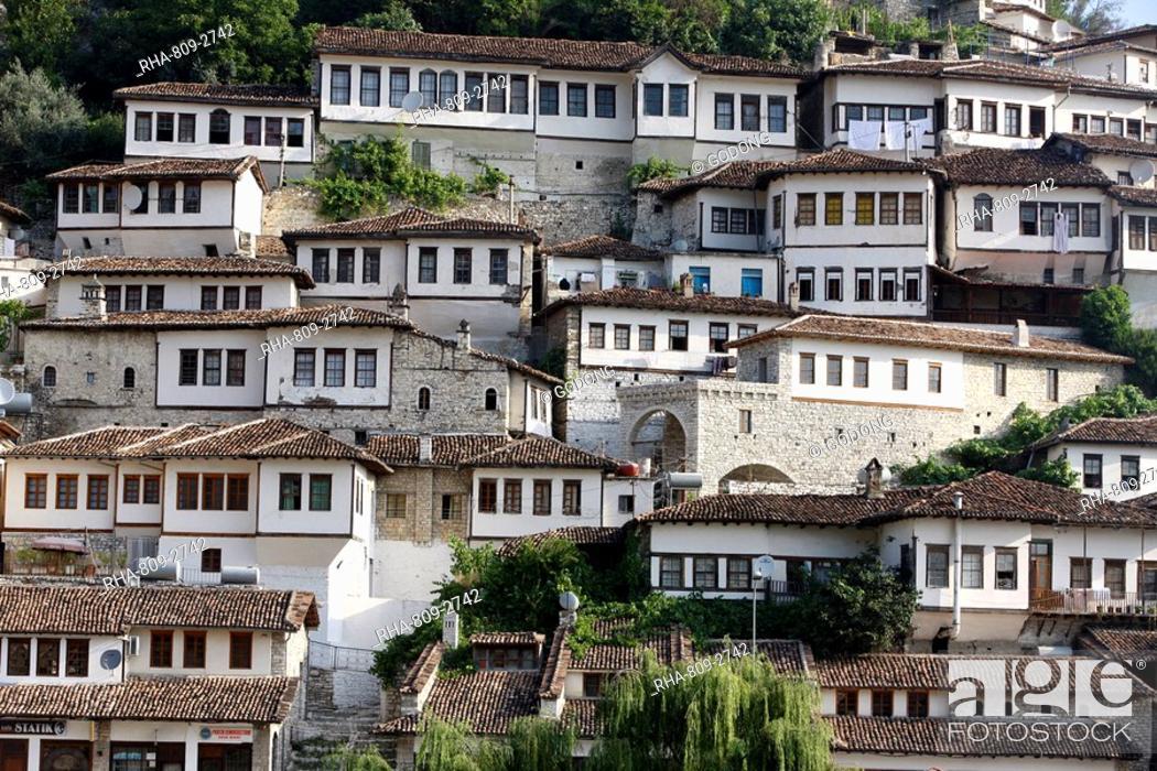 Stock Photo: Riverfront buildings, Berat, Albania, Europe.