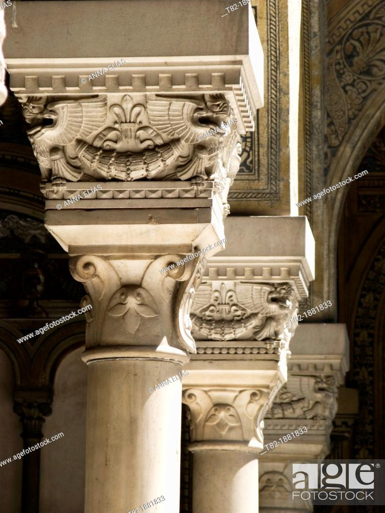 Stock Photo: Mozarabic three columns and capitals of Sevilla Palace, Andalusian patio, Andalucia, Spain, Europe.