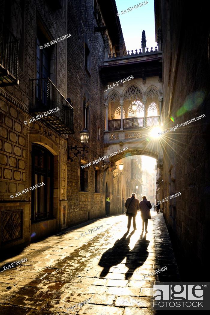 Stock Photo: Spain, Catalonia, Barcelona, Barri Gotic (Barrio Gotico, Gothic Quarter), Carrer del Bisbe (Bishop's street), neo-Gothic bridge Pont del Bisbe (Bishop's bridge).