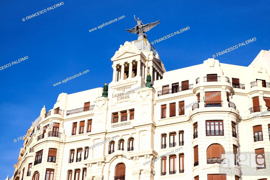 Stock Photo: Facade of buildings in front of north railway station. Valencia, Spain.