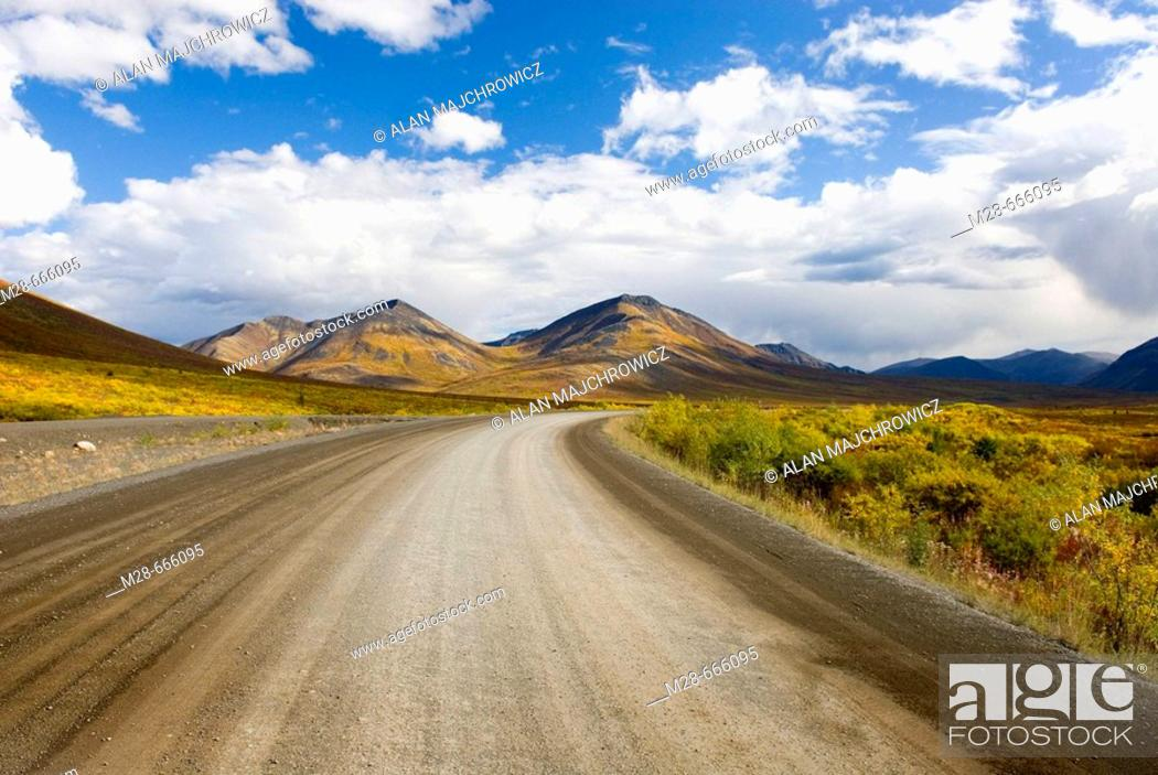 Stock Photo: The Dempster Highway winding its way through the Ogilvie Mountains, Tombstone Territorial Park, Yukon, Canada.