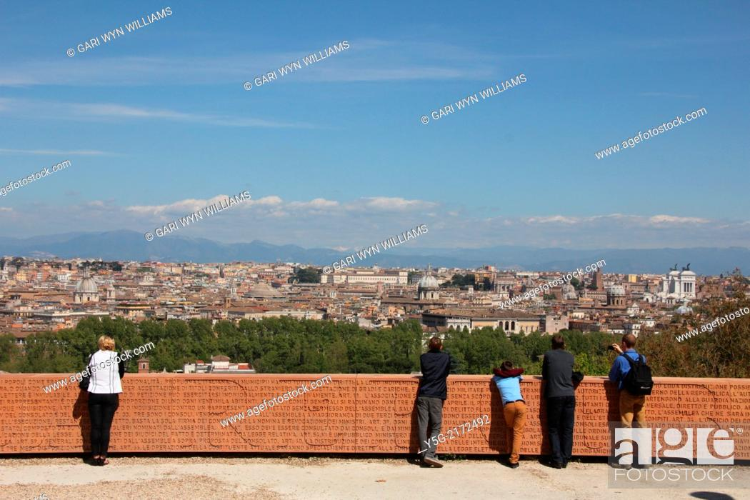 Stock Photo: Rome, Italy. 16th April 2014. The extremely cold northerly tramontana wind clears the sky over Rome from the Gianicolo Hill, Italy.