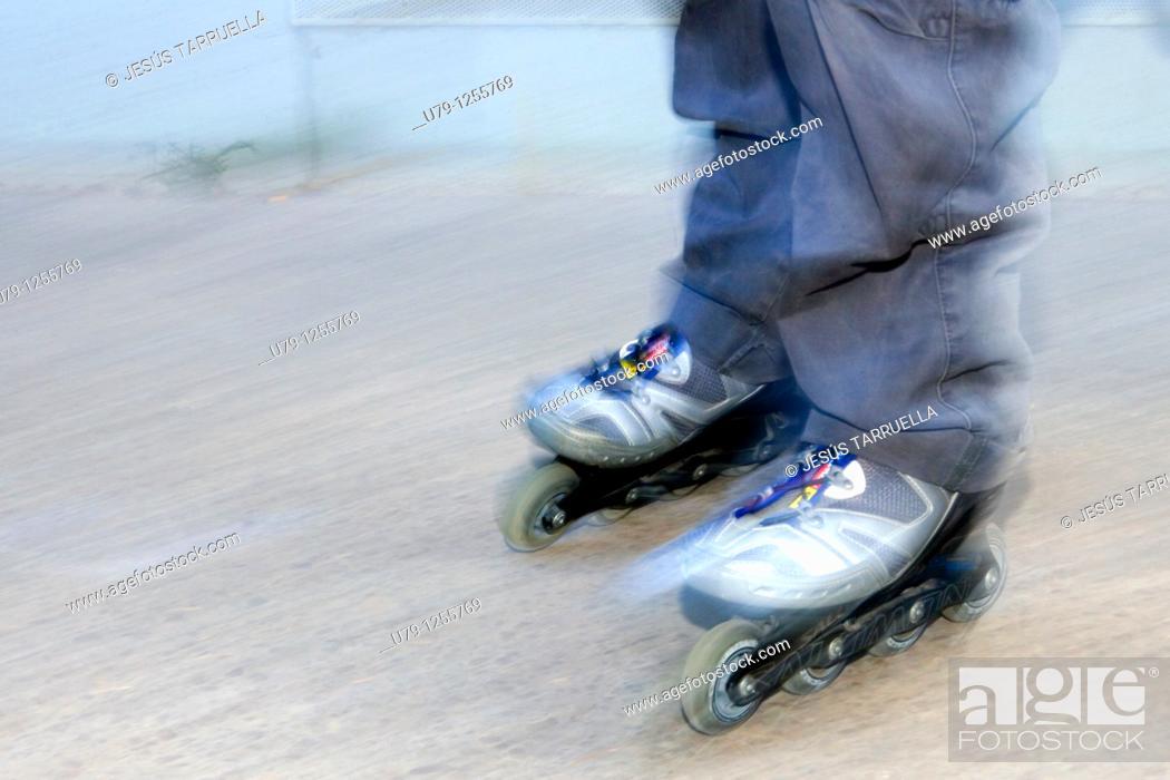Stock Photo: Young man skating.