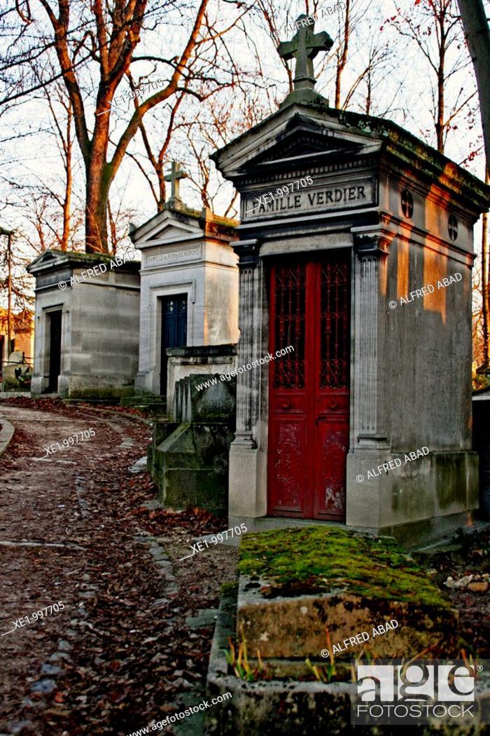 Stock Photo: Mausoleum, Montmartre cemetery, Paris, France.