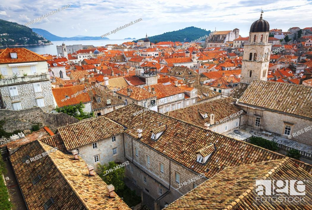 Stock Photo: Red tile roofs from the ancient city wall, old town Dubrovnik, Dalmatian Coast, Croatia.