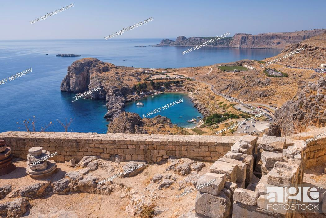 Stock Photo: View of the St Paul's Bay from the Acropolis of Lindos, Rhodes, Greece.