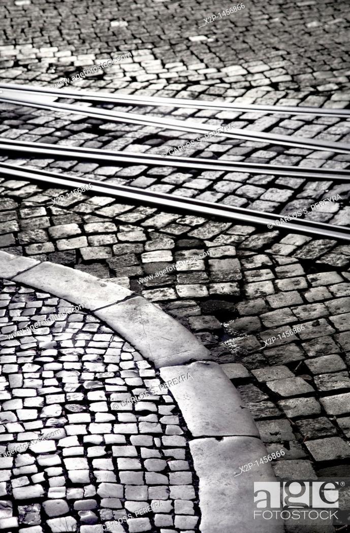 Stock Photo: street detail in Chiado district, Lisbon, Portugal.