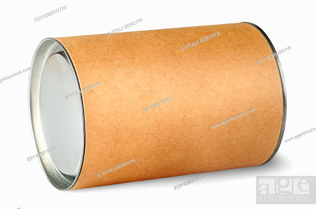 Stock Photo: Cardboard tube with metal lids isolated on white background.